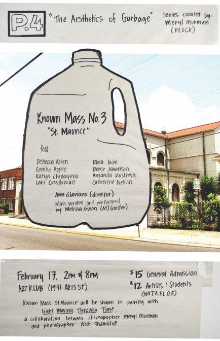 "KNOWN MASS No. 3, ""St. Maurice"" / Art Klub / February 17, 2018 / Flier: Catherine Nelson"